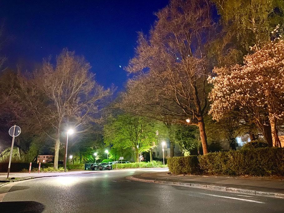 Nachtleben mit Sternenhimmel an einer Wohnanlage an der Emil-Richter-Straße in Bremen-Kattenturm, Bremen Obervieland (Foto: 04-2020, Jens Schmidt)