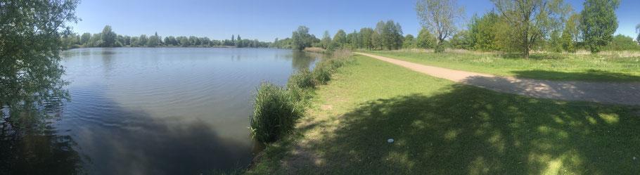 Der Krimpelsee in Bremen-Habenhausen mit seiner naturnahen Ufervegetation eignet sich ideal für einen Spaziergang oder eine Fahrradtour
