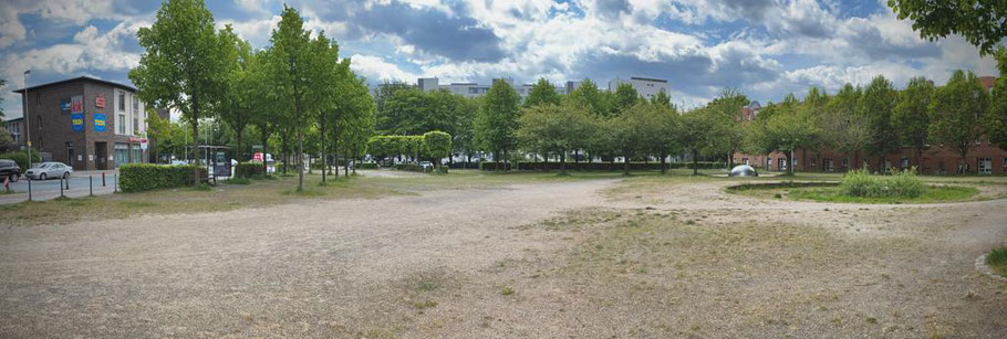 """Der Cato-Bontjes-van-Beek-Platz in 28277 Bremen-Kattenturm ist eigentlich ein Denkmal. Da der Platz offiziell keine Grünfläche ist, sondern als """"Straßenbegleitgrün"""" geführt wird, ist keine regelmäßige Pflege vorgesehen. (Foto: 05-2020, Jens Schmidt)"""