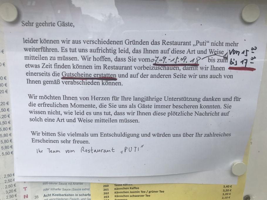 Puti Restaurant Bremen - dauerhaft geschlossen seit 09-2018