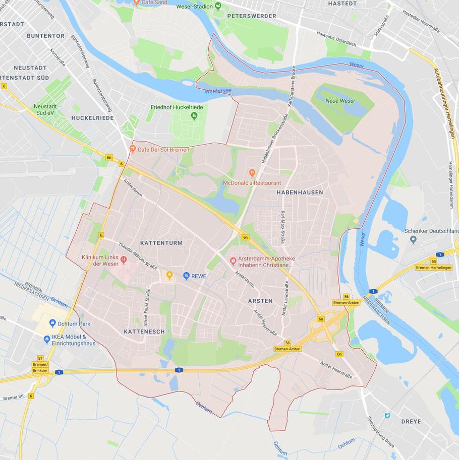 Bremen-Obervieland (Landkarte auf Google Maps): citynaher Stadtteil im Süden Bremens