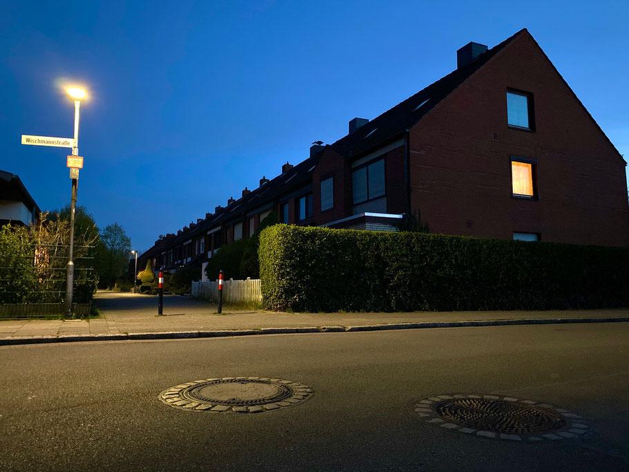 Wohnblockreihe an der Wischmannstraße in Bremen-Kattenesch, Bremen Obervieland (Foto: 04-2020, Jens Schmidt)