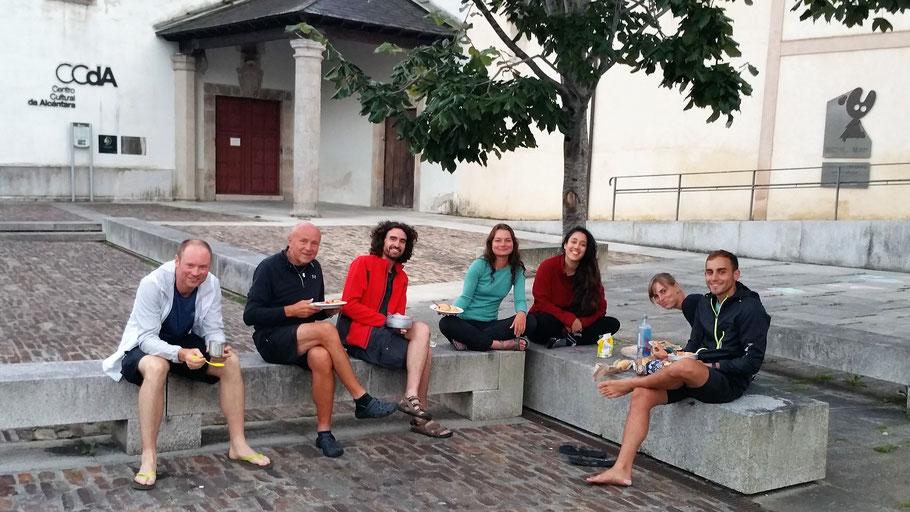 Herberge in Mondonedo. Pilger aus Slowakei, Deutschland, Spanien und Frankreich.