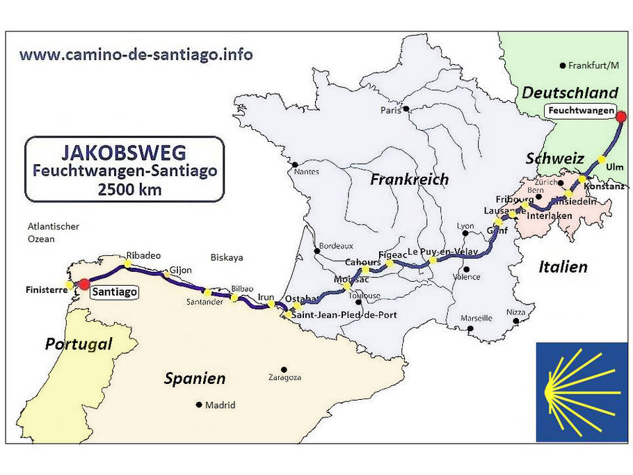 Feuchtwangen-Santiago, über 2500 km durch Deutschland, Schweiz, Frankreich, Spanien