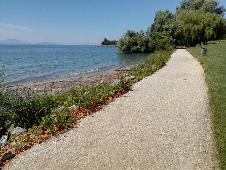 Ab Lausenne der Jakobsweg verläuft direkt am Ufer der Genfersee