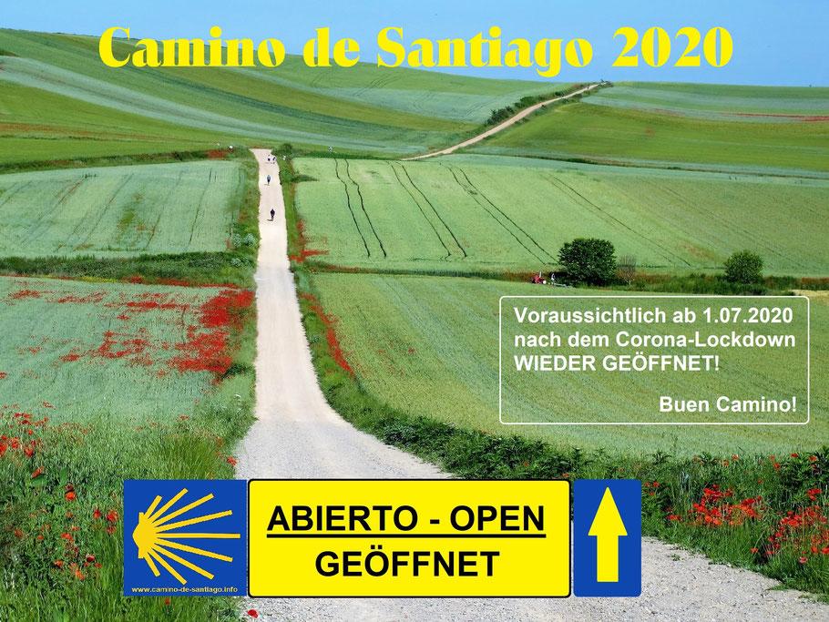 Camino de Santiago ist ab 1. Juli 2020, nach dem Corona-Lockdown, wieder geöffnet. Auch viele öffentliche Herbergen in Spanien sind wieder geöffnet. Vor dem Start bitte unbedingt die aktuelle Lage prüfen!