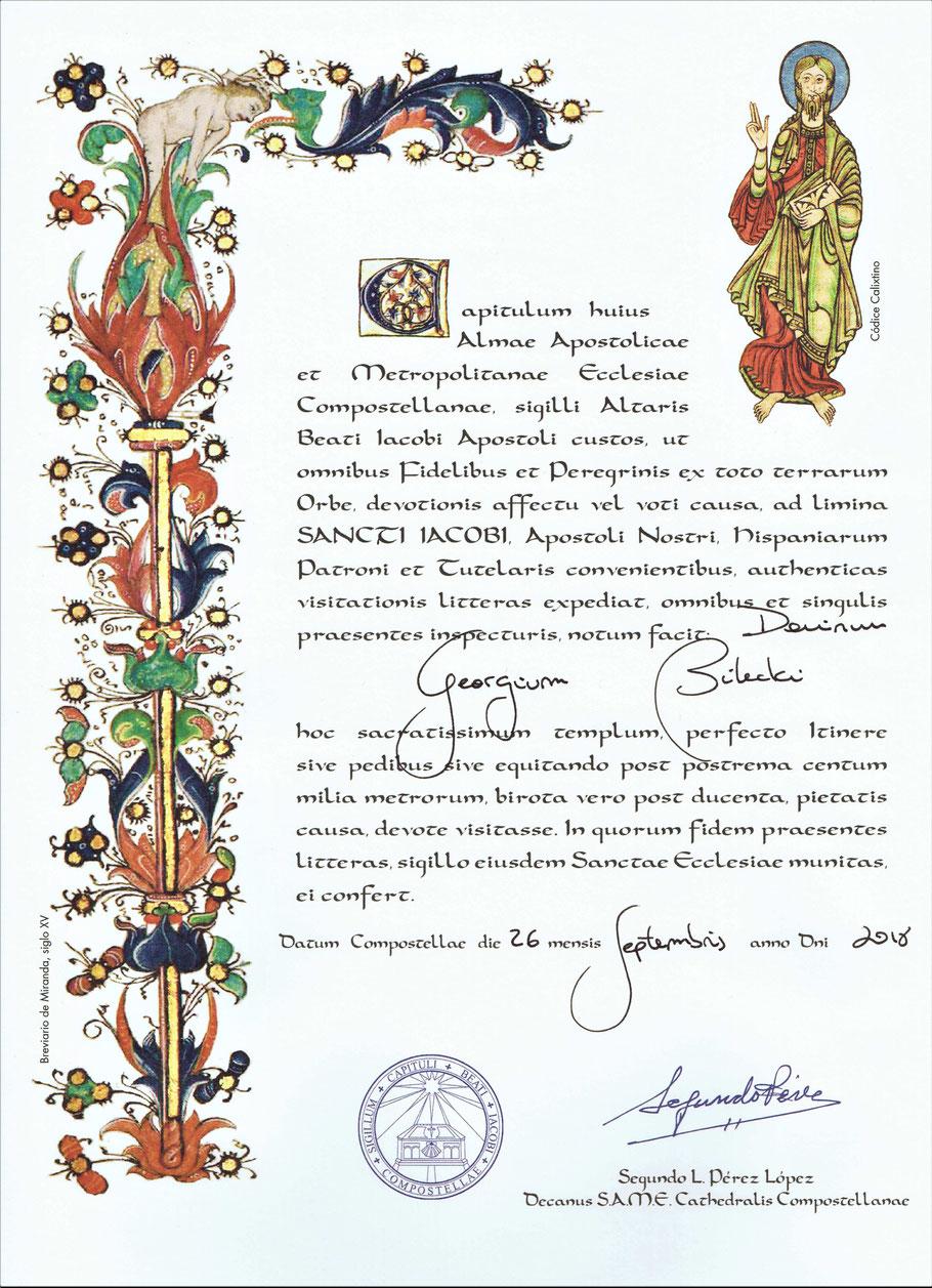 Pilgerurkunde Compostela.