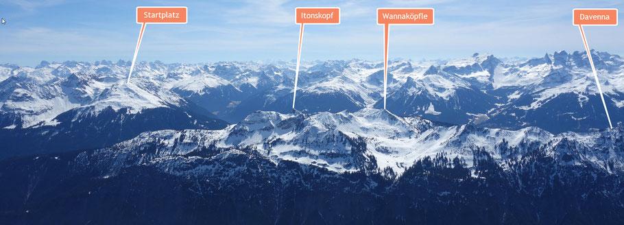 Blick zurück übers Klostertal in Richtung Montafon