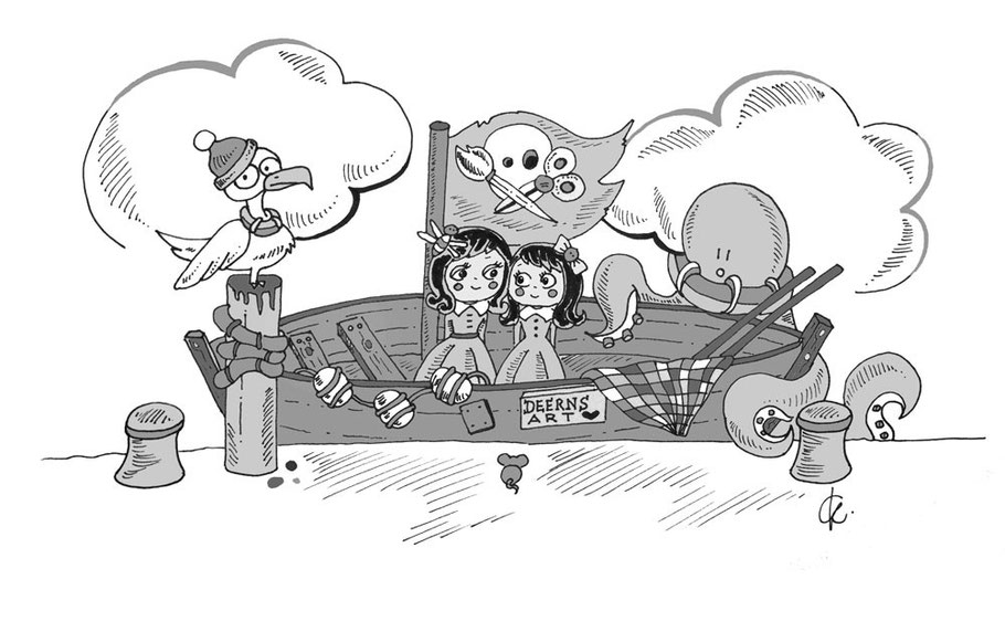 Piratenschiff Illustration mit Möve, Boot und Octopus - Deerns Art