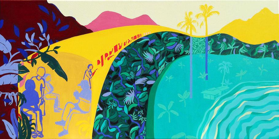 Met de jungle mee - 2019 - 120x60cm, acryl op doek