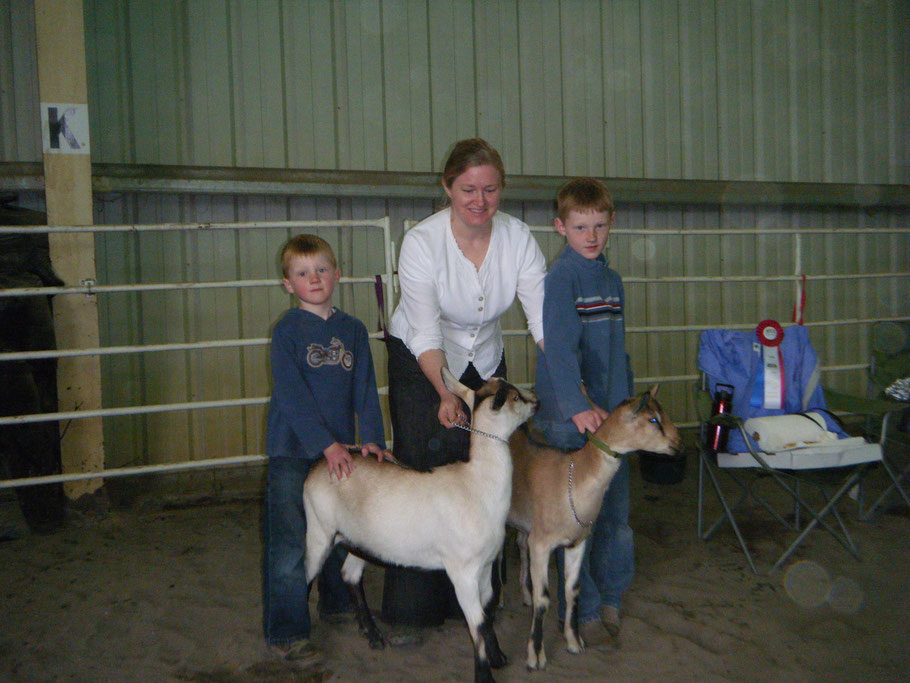 Goat show with the first two goats of our current herd, Creme & Cookie.