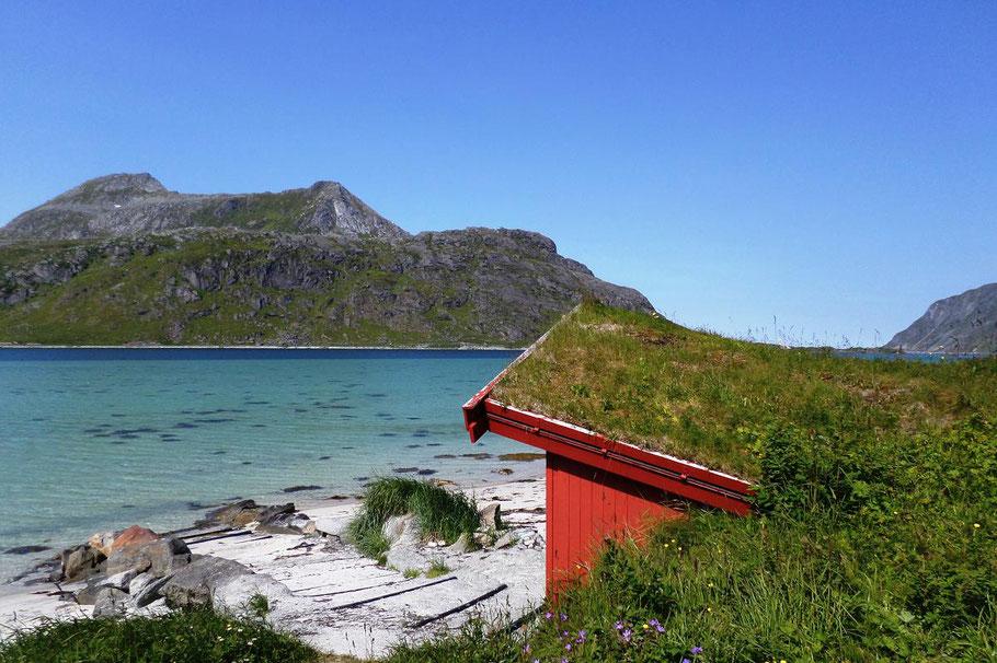 """Devant cette toute petite plage au sable blanc et aux eaux turquoises, le panneau indiquait """"Strandveien"""""""