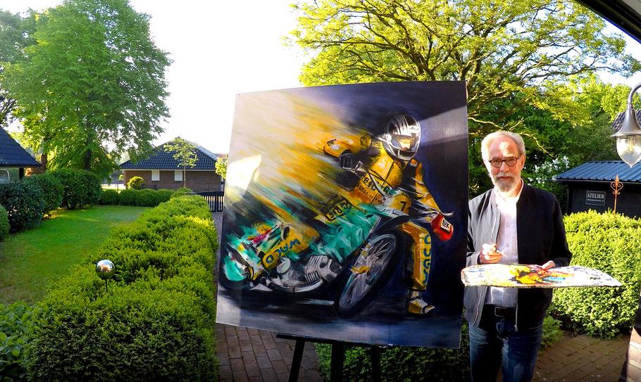 Speedway - Weltmeister EGON MÜLLER - Acryl auf Leinwand - UNIKAT