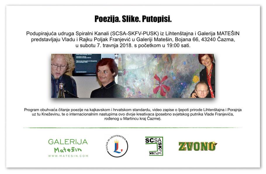 """Pozivnica """"PJESME.SLIKE.PUTOPISI."""" Vlado i Rajka Poljak Franjević 7.4.2018. u galeriji Matešin, Bojana kraj Čazme"""
