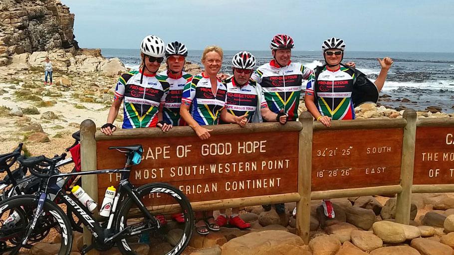Die Reiseteilnehmer 2018 am Kap der guten Hoffnung in Süd Afrika