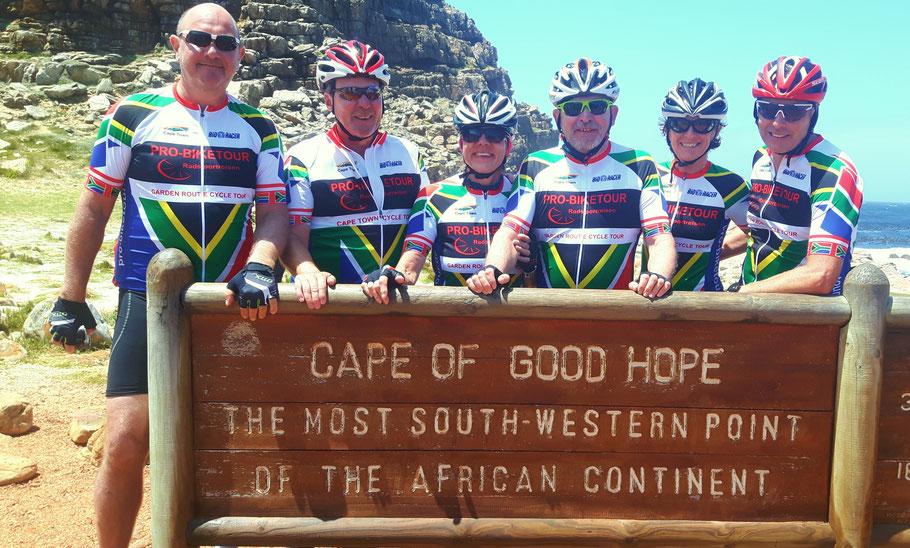 Die Reiseteilnehmer 2019 am Kap der guten Hoffnung in Süd Afrika
