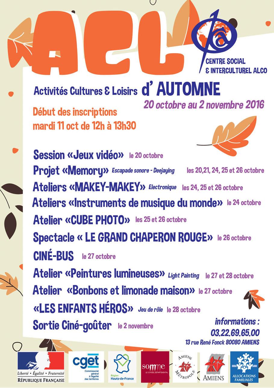 Affiche présentant le programme des Activités Cultures et Loisirs  d'Automne du centre ALCO