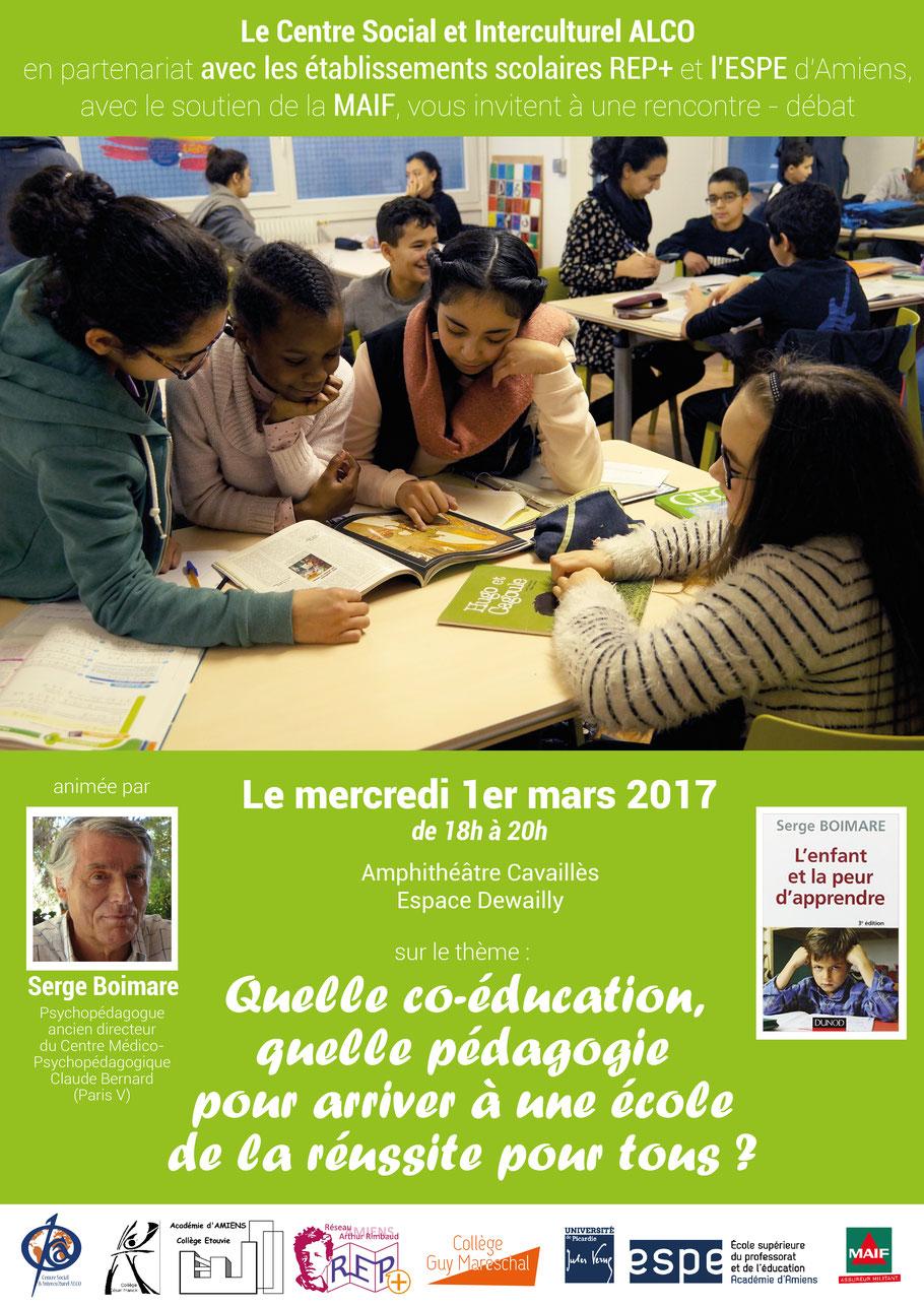 """Affiche conférence Serge Boimare """"Quelle co-éducation, quelle pédagogie pour arriver à une école de la réussite pour tous ?"""""""