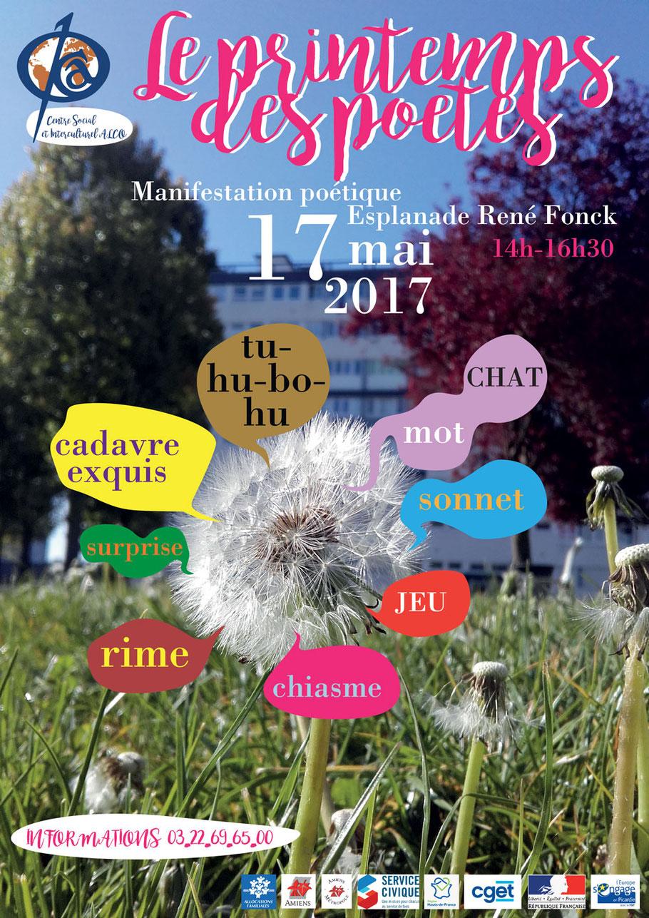 affiche printemps des poétes centre social et interculturel ALCO Amiens Nord
