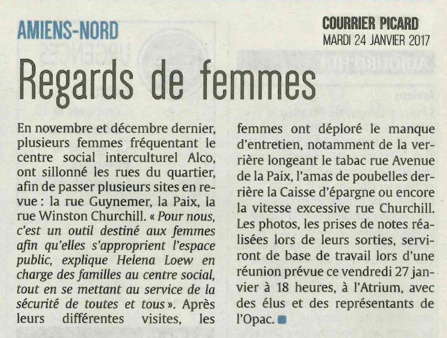 articjle du Courrier Picard retraçant les marches exploratoiresorganisées par les femmes fréquentant le centre social et interculturel ALCO.