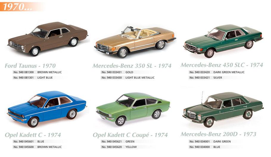 Maxichamps, Scale 1:43, Ford Taunus, Mercedes-Benz 350SL 450 SLC 200D, Opel Kadett C Coupé 1974,