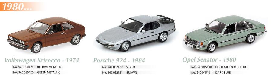 Maxichamps, Scale 1:43, Porsche 924 1984, Opel Senator 1980