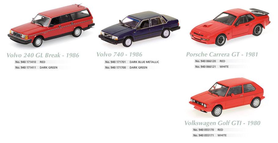 Maxichamps, Scale 1:43, Volvo 240 GL Break, Volvo 740, Porsche Carrera, Golf GTI