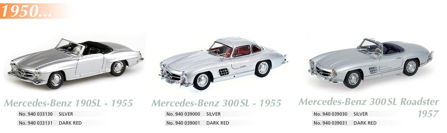 Maxichamps, Scale 1:43, Mercedes-Benz 190SL 1955, Mercedes-Benz 300SL 1955, Mercedes-Benz 190SL Roadster 1957
