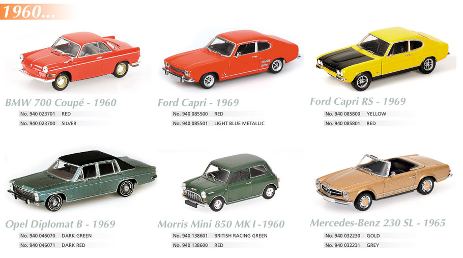 Maxichamps, BMW 700 Coupé, Ford Capri 1969, Opel Diplomat, Morris Mini, Mercedes-Benz 230 SL
