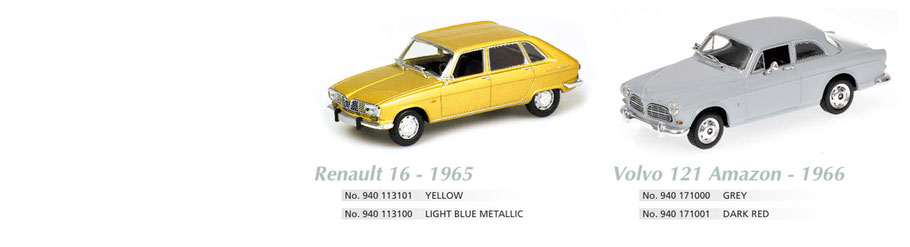 Maxichamps, Scale 1:43, Renault 16 1965, Volvo 121 Amazon 1966