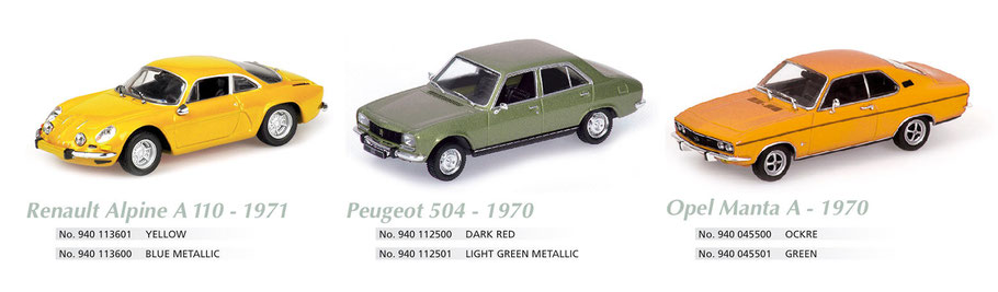Maxichamps, Scale 1:43, Renault Alpine A 110, Peugeot 504, Opel Manta A 1970