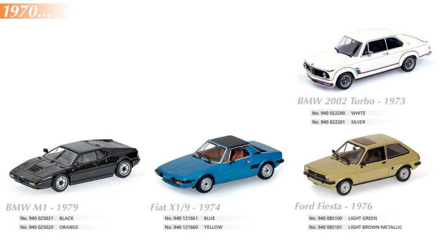 Maxichamps, Scale 1:43, BMW 2002, BMW M1, Fiat X1/9, Ford Fiesta
