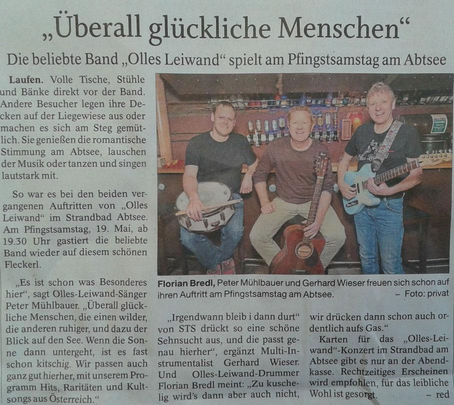 Olles Leiwand, die Austropop Band aus Bayern spielt live am Open Air Abtsdorfer See
