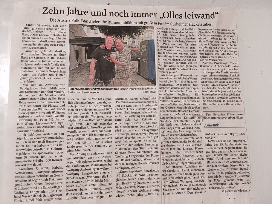 10-jähriges Jubiläum von Olles Leiwand, der Austropop-Coverband aus Freilassing