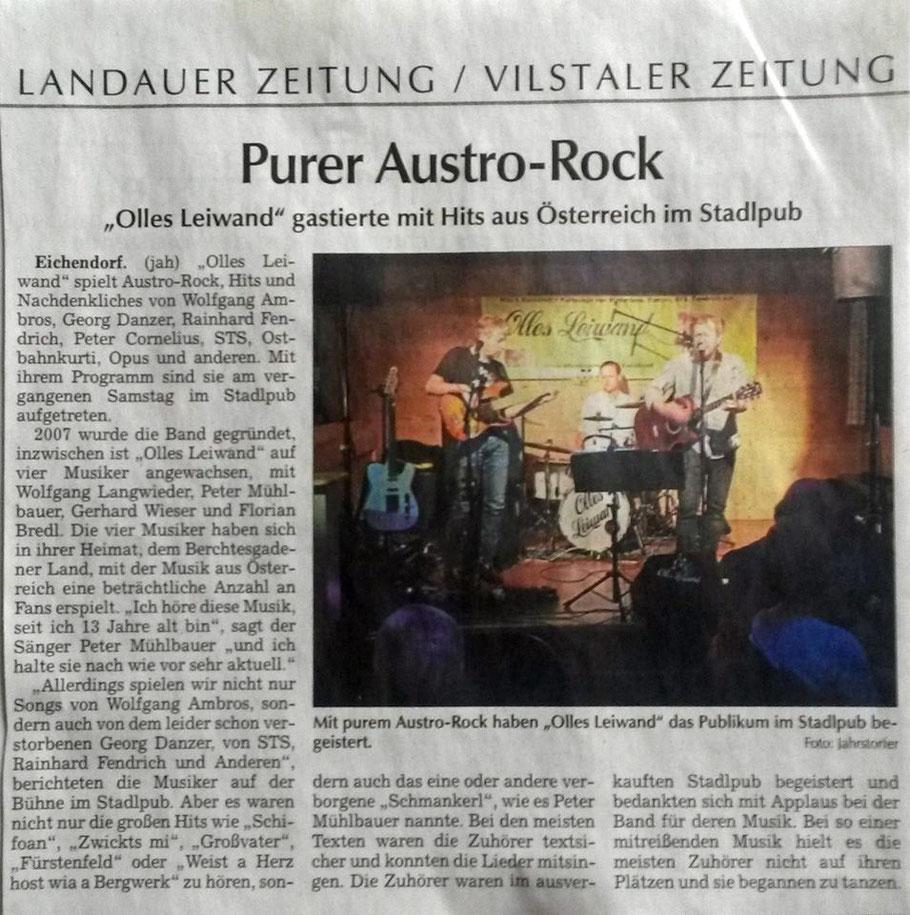 Olles Leiwand mit Livemusik von Ambros, Sailer und Speer, Danzer, Fendrich, STS und anderen auf der Stadl Bühne Eichendorf