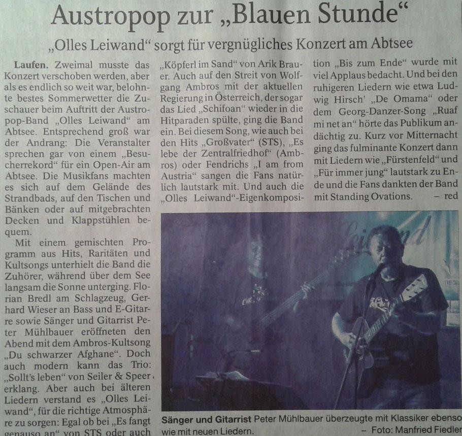 Olles Leiwand, die Austropop Band aus dem BGL am Abtsdorfer See zum Open Air
