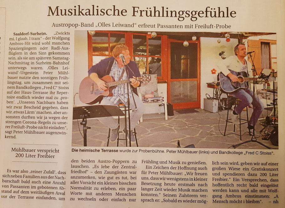 Olles Leiwand, Austropop Live Band aus Bayern und Salzburg spielt probt unplugged in Surheim