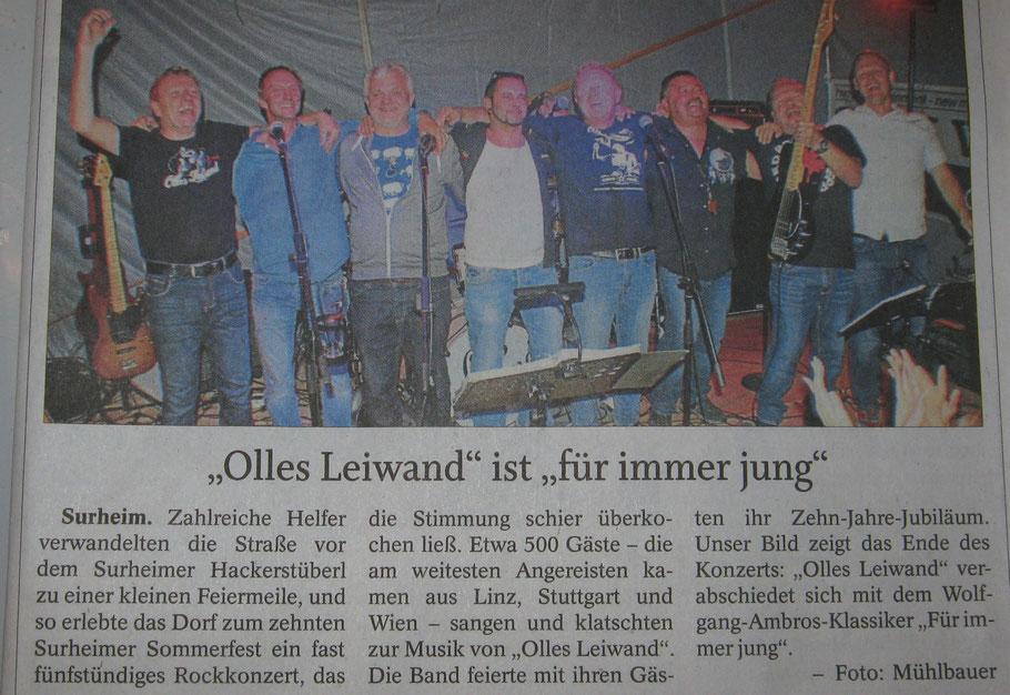 Olles Leiwand, die Band aus dem BGL beim Surheimer Sommerfest