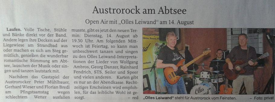 Olles Leiwand spielt zum Open Air am Abtsdorfer See