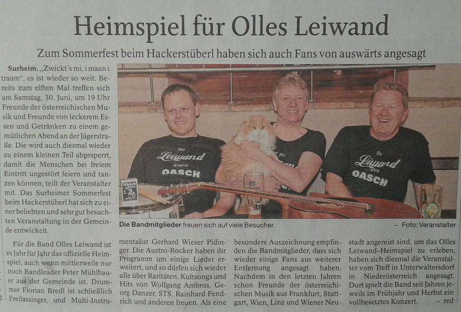 Olles Leiwand spielt zum Sommerfest Surheim Austropop mit Livemusik von Ambros, Danzer, STS, Fendrich und anderen