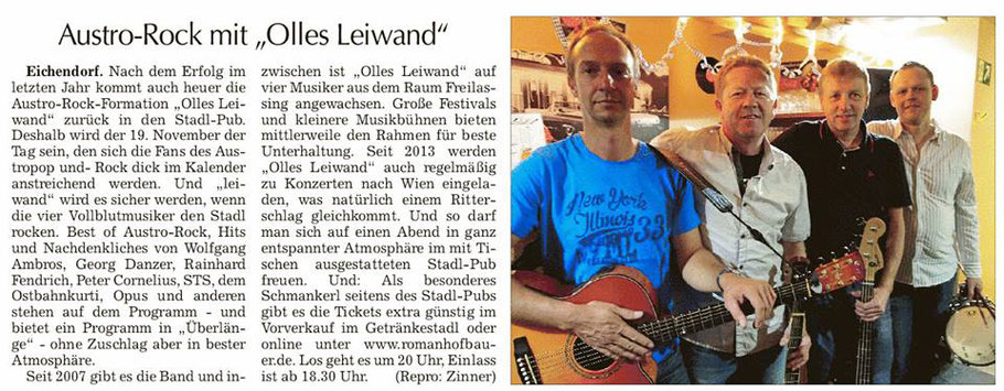 Olles Leiwand, die Austropop Band aus Freilassing spielt im Stadl-Pub in Eichendorf
