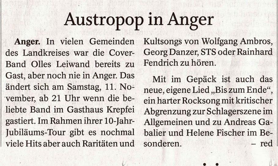 Olles Leiwand, die Austropop Band aus Freilassing / Salzburg beim Kröpfelwirt in Anger