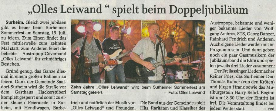 Olles Leiwand, die Austropop Band aus dem BGL feiert Jubiläum in Surheim beim Sommerfest