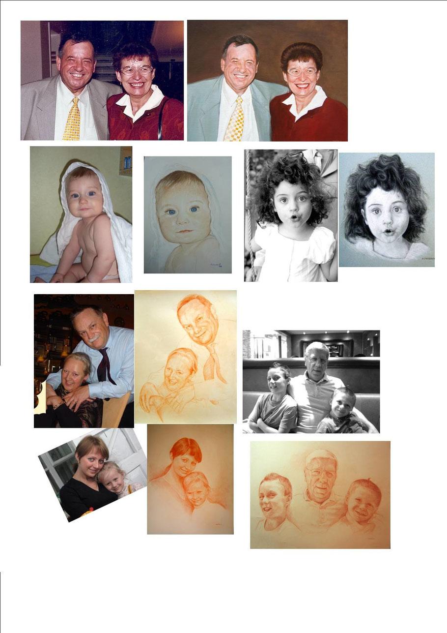 Portrait peints et dessinés sur commande d'après photo.Tableaux , Reproductions, Peinture Dessin, exemples, Avant Après.