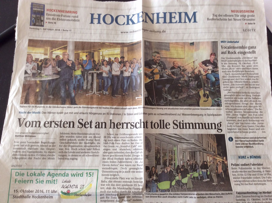 Wir haben es sogar aufs Cover geschafft! Juchuh! Grovebox - Acoustic Cover in der Schwetzinger Zeitung 10 2016