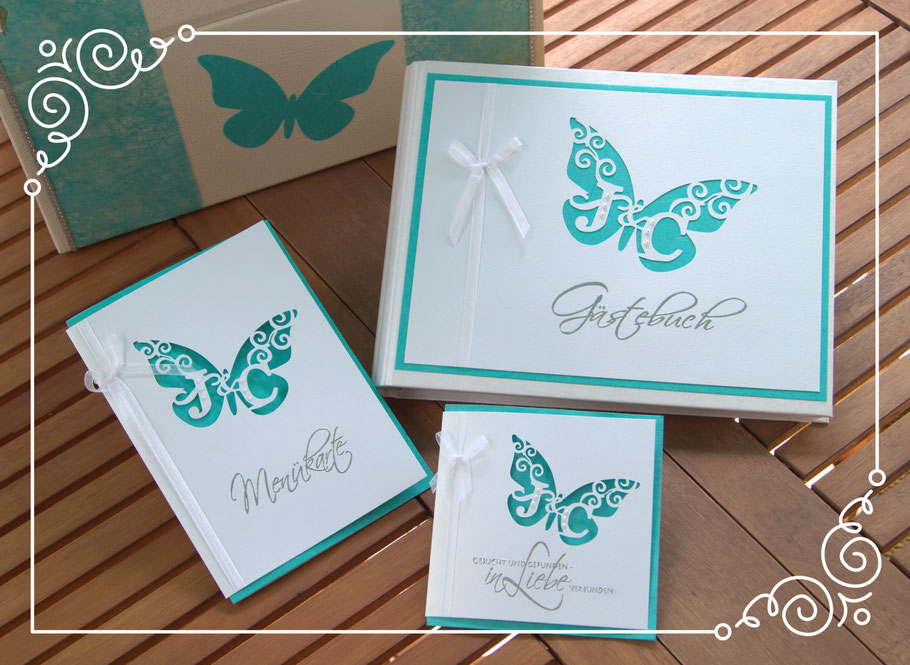 """Hochzeits Set Monogrammschnitt """"Schmetterling"""", Türkis Einladungskarte, Menükarte und Gästbuch mit Briefbox"""