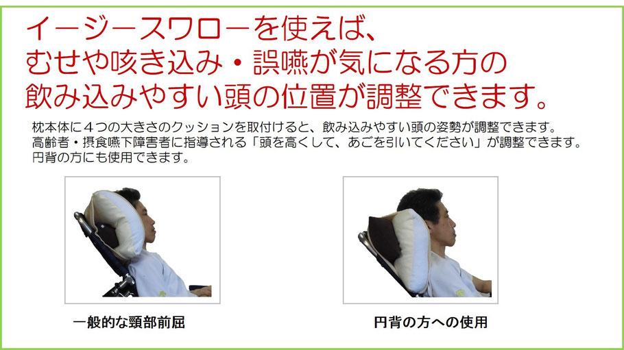 イ-ジ-スワロ-は、むせや咳き込み・誤嚥が気になる方の飲み込みやすい頭の位置が調整できる介護枕です。「頭を高くして、あごを引いてください」が調整できる介護用枕です。