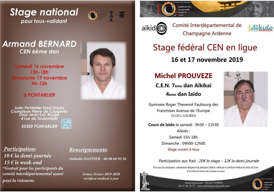 Samedi 16 et 17 Novembre 2019 : 2 stages encadré par des CEN vous sont proposés, l'un à Langres, l'autre à Pontarlier.