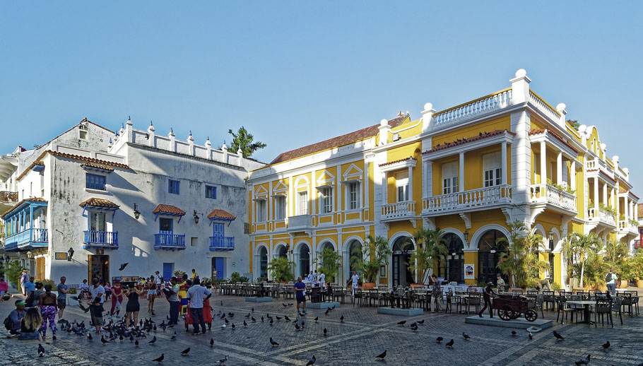 Stadtplatz in Cartagena, Kolumbien