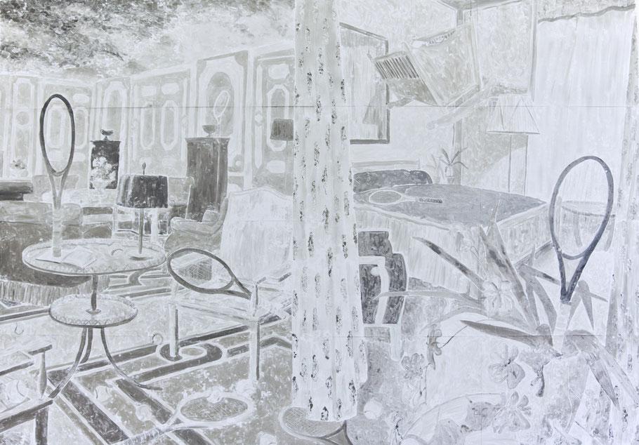 Monotypie, Ölfarbe auf Papier, 400 x  280 cm (16-teilig), 2016